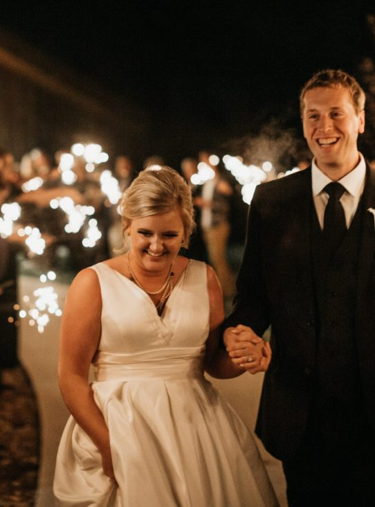 Beautiful sparkler exit at the Meadow Barn